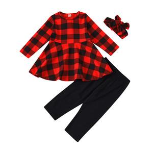 키즈 소녀 격자 의상 유아 아기 크리스마스 프릴 긴 소매는 머리띠 061,112으로 단색 바지 아동 캐주얼 의류 세트 탑