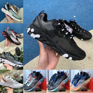 Sale 2020 React Element 87 55 Shoes For Men Women Anthracite Light Bone Triple Black White Fashion Trainers Sports Sneaker Size36-45