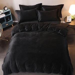 Mode Stil Brief Neue Bettwäsche Sets Korallen Samt Fleece Hohe Qualität Retro Bettwäsche Bettwäsche Deckung Duvet Cover Königin King Größe