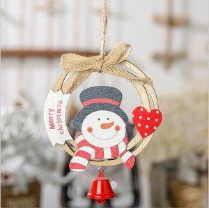 Christmas Wooden Pendant Santa Claus Bell Tree Wooden Hanging Xams Display Finestra Puntelli Ornamento Decorazioni natalizie EWC3468