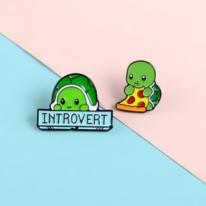 Introvert Tortoise Pins Cartoon Animal Love Pizza Lapel Enamel Pins Brooches Badges Clothes Bag Jewelry Gifts For Friends1