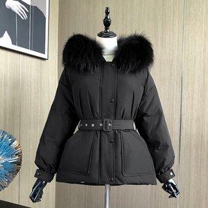 2021 Новая лагабогия зимний енот-кожа женщина белый вниз с капюшоном талия накапливается темперамент короткой толстой теплой куртки с поясом IWSI