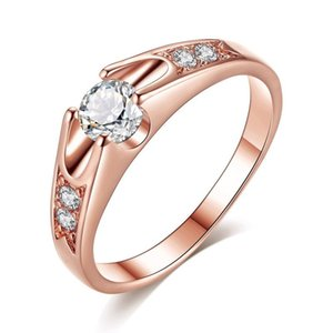 Korean Version of The Popular Round Zircon Micro Inlaid Lover Wedding Ring Rose Gold Ring Gift Couple
