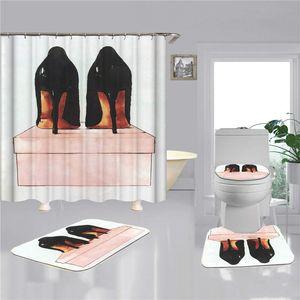 Moda stampata bagno tappetini per la casa Home Bathroom Doccia Tende da doccia 4 PZ Set Impermeabile Antiscivolo Zerbino Accessori per il bagno Commercio all'ingrosso
