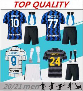 20/21 Skriniar Lukaku Soccer Jersey Kits Adult Kits 2020 2021 Alexis Vidal Brozovic Lautaro Milão Conjunto Sock Maillot De Foot Football Camisa