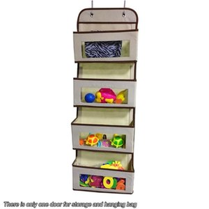 For Pantry Over The Door Organizer With 4 Pockets Clear Window Dorm Storage Bag Closet Non-woven Hooks Baby Nursery Bathroom