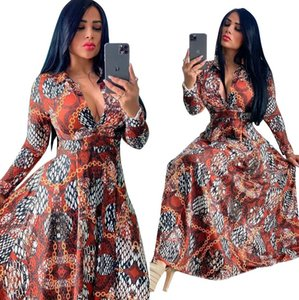 J2408 Hot Selling Women's Clothing in Europe and America Digital Print Slim Casual Long One-piece Dress Free Shipping