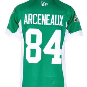 Personalizado 2019 421Saskatchewan Roughriders Arceneaux # 84 Real Completo Bordado Colégio Jersey ou Qualquer Nome ou Número Jersey