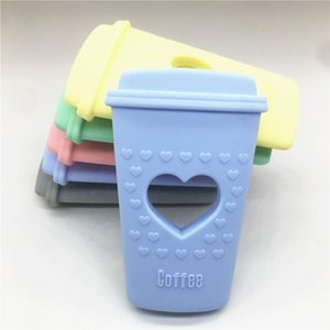 Chenkai 5PCS BPA Free DIY Cute Heart Silicone Coffee Cup Teether Baby Pacifier Dummy Sensory Pendant Toy Crafts Accessories