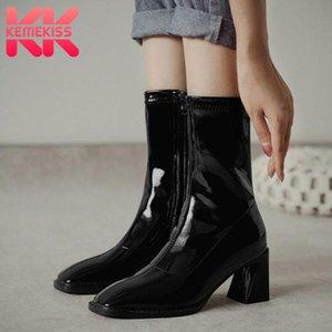 KemeKiss Frauen Kurze Stiefel starke Ferse Reißverschluss Schuhe Lackleder-quadratische Zehe Warme Stiefel Damen Mode Schuhe Größe 33-40