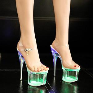 Женщины Кристалл 18 / 20см пяток Ночной клуб Luminous сандалии танцевальная обувь Кристалл Светодиодные платформы сандалии Sandalias De Las Mujeres