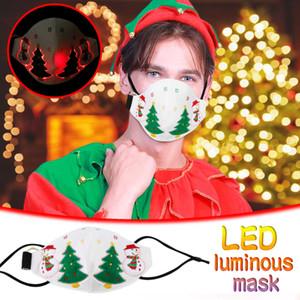 Christmas 7-color led máscara rosto luminoso com bateria luminoso flash, usado para DJ Halloween e festa de natal proxs presente