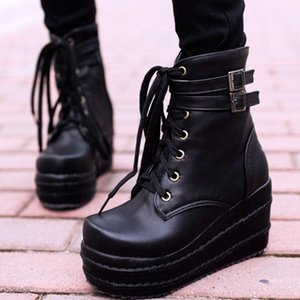 GIGIFOX Cosplay Female Motorcycle Boots Wedges High Heels 2020 New Arrivals Platform Shoes Women Ankle Boots
