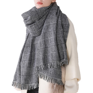 Femmes Automne et Hiver Foulard noir et blanc classique en cachemire à carreaux Femme Châle Scarfs New Fashion
