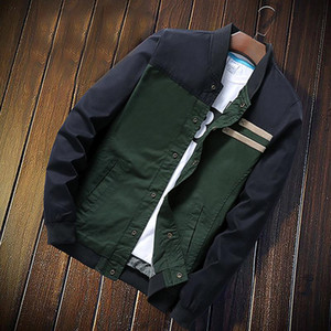 Yeni Bahar Sonbahar Bombacı Ceket Erkekler Rahat Ince Patchwork Rüzgarlık Ceket Erkek Dış Giyim Fermuar Ince Ceket Marka Adam Giyim