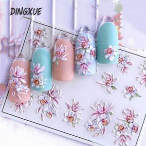 Наклейки наклейки наклейки 1шт 3D акриловый выгравированный стикер для ногтей тиснение розовая маленькая ромашка цветок воды эмпиристический слайд Z0371