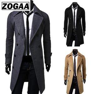 Zogaa new chic men's wool coat jacket double button men's long sleeve coat winter short sleeve solid men's jacket coat
