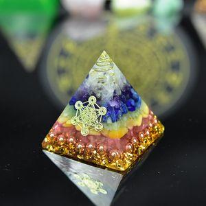 Orgon Pyramid Seven Chakras natural Stone Orgonite Energy Crystals EMF protection Original Home Office Decor Resin Reiki Gift