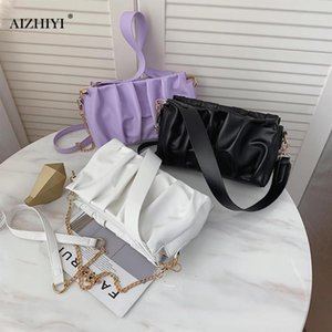 Fashion Women PU Leather Pleated Shoulder Messenger Pouch Solid Color Female Chain Daily Totes Handbag
