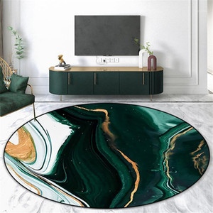 Abstract Green White Marble Round Carpet Living Room Simple Fashion Area Rug Bedroom Nordic Floor Mat Washable Anti-slip1