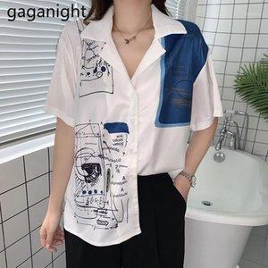 Gaganight Fransız Tarzı Kadınlar Vintage Bluz Kısa Kollu Moda Kız Graffiti Baskı Gömlek Kadın Chic Kore Gevşek Blusas Ince1