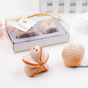 Wedding favors 200 pcs=100box Beach Theme Seashell and Starfish Salt & Pepper Shaker Bridal Shower Souvenirs Party Decor Supplies LX1289