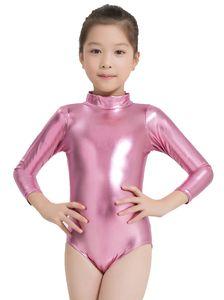 Speerise Kids Turtleneck Shiny Gymnastics Leotard Costumes Ballet Dance Long Sleeve Zip Up Metallic Tank Leotard