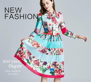 2021 Moda Kadınların Zarif Elbiseleri, Güzellik Baskı MIDI Etekler, Uzun Kollu Standı Boyun Bayan Elbise, Kızın Pileli Elbiseler