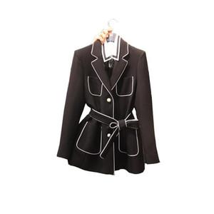 Blazer Coat Womens 2020 Pearl Button Mujer coreana Blazer Casual Traje de otoño Cuello de collar Chaqueta de bolsillo Muti