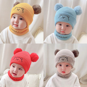 Baby Scarf Cap Set Cute Bear Pattern 2 Hairball Beanies Caps Winter Stay Warm Knitted Scarf Toddler Anti Cold Suit 9 5fk L2