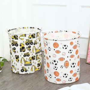 Kids Toy Storage Basket Waterproof Dirty Clothes Laundry Bags Printed Cotton Linen Storage Bin Bag Large Hamper Clothing Organizer EWC2762