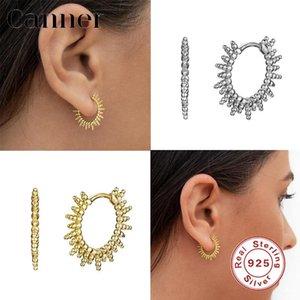 Canner 925 del 100% de la personalidad de plata esterlina pendientes del aro geométrica Huggie pendientes para las mujeres Bellas pendientes de joyería 2020 W5