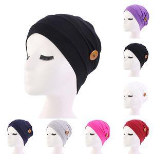New Elastic Turban Muslim Headscarf With Button Hat Women Headscarf Bonnet Inner Hijabs Cap Muslim Hijab femme Wrap Head button