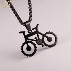 U7 Fahrrad Halskette schwarze Farbe Edelstahl-Fahrrad-Anhänger-Kette für Männer / Frauen 2020 Hot Fashion Jewelry Hippie Rock-P1028