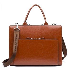 Cossloo Leather Briefcase Spalla Laptop Business Business Vintage Slim Bags per uomo Borse da donna Borse Genuine Borse da donna Donne Marchi famosi LJ201012