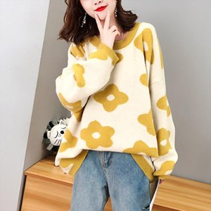 Women Oversize Sweater and Pullovers Autumn Winter O Neck Sweet Flower Printed Elastic Jumpers Long Sleeve Pink Female Loose Str