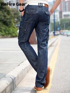 ReFire Gear Brand Cargo Jeans Men Multi-pockets Biker Jeans Casual Streetwear Straight Denim Pants Tactical Male