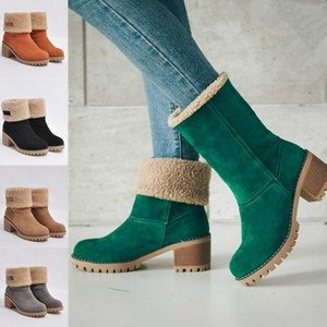 Fashion Winter Women Fur Warm Snow Boots Wool Booties Suede Thick High Heels Dual-use Plus Velvet Mid Martin Boots Shoes