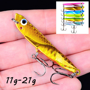 6 Color Mixed 11g-21g(55mm-70mm) VIB Spoons Fishing Hooks 8 6# Hook Metal Baits & Lures Pesca Fishing Tackle B_L008