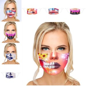 Fashion Lady Halloween Mund-Maske 3D Digital Lippen Druck Staubmasken Anti Rauch Wiederverwendbare Cloth Facemask 3 8YA G2