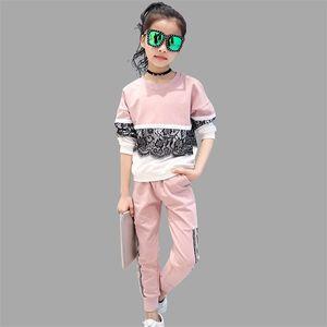 Abesay Sports Costume pour Girls Dentelle Vêtements pour filles Automne Infant Fille Vêtements Printemps Teenage Filles Vêtements 8 11 13 ans Y200325