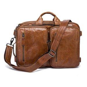 """MAHEU Business Genuine Bagpack Leather Briefcase Travel 15.6""""Laptop Men In 3 1 Bag Tote Weekend Bags Cowhide Aauri"""
