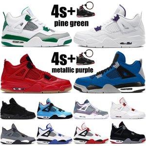 2021 novos 4 4s Jumpman sapatos mens basquete pinho roxo vermelho metálico verde criados gato preto cactos homens jack trainers sneakers US 7-13