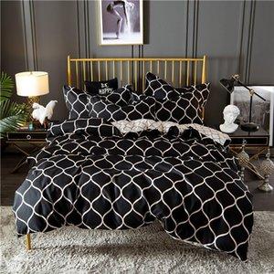 Conjunto de ropa de cama Nordic Negry Grid Parriz Sets King Duvet Funda Set Home Textiles Soft Queen Bed Set