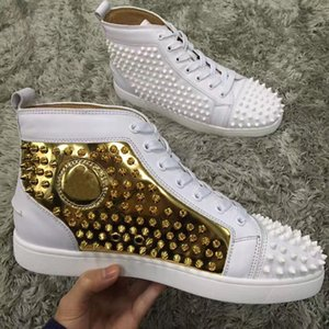 ShoesLouboutinCLChristianBlack-red,White-gold Leather Classic Designer Men Women Spikes Red Bottom Sneakers, Design kaN
