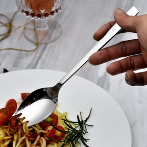 High-quality 304 Stainless Steel Dual-purpose Spoon Fork Spoon One Picnic Spoon Salad Creative Portable Tableware RRD3882
