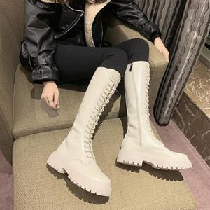 Schwarz Beige kniehohe Stiefel schnüren sich oben Frauen Schuh-Plattform-Stiefel hoch Winter-Chunky Motorrad Frauen Botas Mujer
