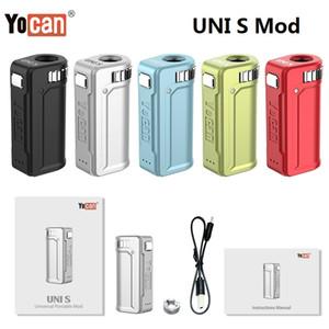 정통 YoCan Uni S 배터리 400mAh 가변 전압 예열 상자 모드 두꺼운 오일 카트리지에 대한 조정 가능한 나사 크기가있는 100 % 원래