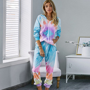 Conjunto Mujer Tie Dye Two Pieces Pants Set Lounge Wear Women Hoodies Tracksuits Suit 2020 Autumn Sweatpants Fashion Clothing