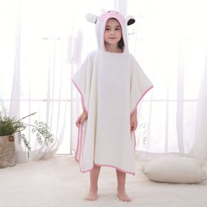 Kids Poncho Towels Animal Cartoon Children's Bathrobe Cotton Unicorn Robe Baby Girl Pajamas Summer Bathing Suit Cloak Garcons Y200114